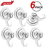 LUXEAR Advanced Suction Cup Hooks, Powerful SuperLock Shower Suction Cups (6 Pack) Heavy Duty Vacuum Suction Cup Hooks for Towel, Bathrobe and Loofah PET Material Multipurpose Holder