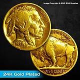 Real Buffalo Nickel (aka Indian Head Nickel) Plated in Pure 24K Gold