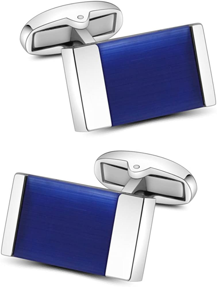Mr.Van Blue Onyx Cufflinks Men's Shirt Cuff Links Set Gemstone Reiki Jewelry Gifts for Men