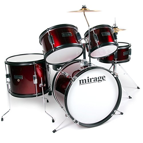 Mirage JDK 5 Piece Junior Drum Kit With Stool and Sticks - Wine Red