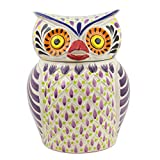 NOVICA Multicolor Ceramic Animal Themed Cookie Jar 'Purple Owl
