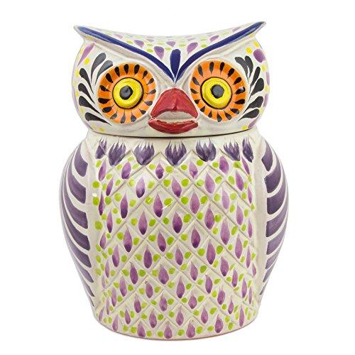 NOVICA Multicolor Ceramic Animal Themed Cookie Jar 'Purple Owl