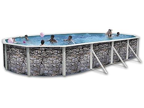 TOI - Piscina PIEDRA GRIS OVALADA 640x366x120 cm Filtro 3,6 m³/h.: Amazon.es: Juguetes y juegos