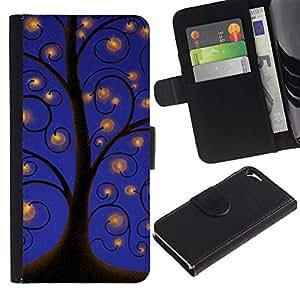 LASTONE PHONE CASE / Lujo Billetera de Cuero Caso del tirón Titular de la tarjeta Flip Carcasa Funda para Apple Iphone 5 / 5S / Drawing Sky Lights Blue