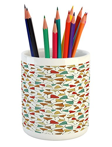 Ambesonne Leaves Pencil Pen Holder, Sketch Art Style Ginkgo Biloba Leaf Pattern in Autumn Season Colors Herbs Botany, Printed Ceramic Pencil Pen Holder for Desk Office Accessory, Multicolor
