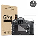 (Pack of 3) Tempered Screen Protector For Nikon D7100 D7200 D800 D800e D810 D750 D600 D610 D500, Akwox [0.3mm 2.5D High Definition 9H] Optical LCD Premium Glass Protective Cover
