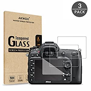 (Pack of 3) Tempered Screen Protector For Nikon D7100 D7200 D800 D800e D810 D750 D600 D610 D500 Akwox [0.3mm 2.5D High Definition 9H] Optical LCD Premium Glass Protective Cover