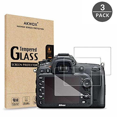 (Pack of 3) Tempered Screen Protector For Nikon D7100 D7200 D800 D800e D810 D750 D600 D610 D500, Akwox [0.3mm 2.5D High Definition 9H] Optical LCD Premium Glass Protective Cover Definition Lcd