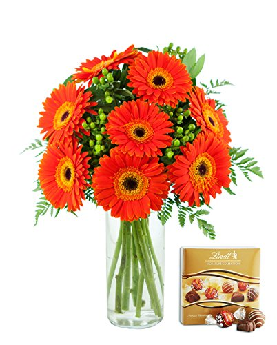 KaBloom Fall Collection, Autumn Fields Bouquet of Orange Daisies Accented in Green Hypericum Berries and Lush Greens with Vase & One Box of Lindt Chocolates, 17 Count