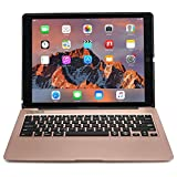 iPad Pro 12.9 keyboard case, [NEW] COOPER KAI SKEL A1 Backlit Aluminum Bluetooth Wireless Keyboard Macbook Clamshell Case Cover with Rechargeable Battery Power Bank for Apple iPad Pro 12.9' Rose Gold