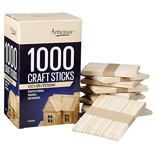 Artlicious - Natural Wooden Food Grade Popsicle Craft Sticks (4000 Sticks)