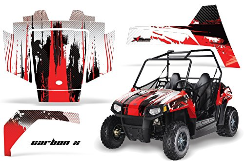 Kit Decal Graphics (AMRRACING Polaris RZR 170 Youth All Years Full Custom UTV Graphics Decal Kit - Camoplate Red)