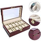 YaeKoo Wooden Watch Box 12 Slots Display Clear Top Jewelry Case Organizer (12 Slots)