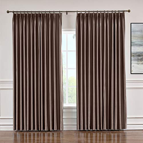 Macochico Extra Wide Soft Faux Dupioni Silk Curtain with Blackout Lining Pinch Pleat Drapery Panels for Bedroom Meeting Room Living Room Office, Brown 120 Wx 84 L Inch (1 Panel) (Dupioni Striped Curtains Silk)