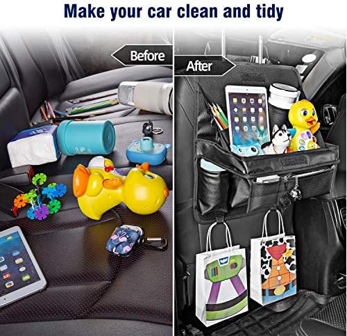 """Car Travel Snack Bag Keep Drinks Extra Cold,Can be Hung Garbage Bags with 15/""""Foldable Table Tray Yixiang Car Back Seat Organizer,PU Leather Black 1 Pack"""