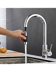 ubeegol 360° Drehbar Küchenarmatur mit Brause Ausziehbar Wasserhahn Küche Armatur Messing Chrom Spültischarmatur Einhebelmischer Mischbatterie