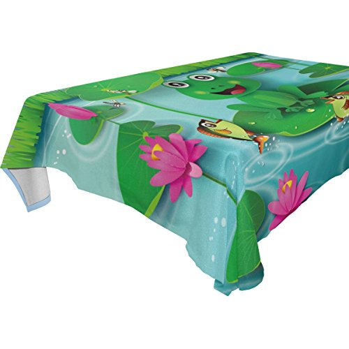 - WOZO Rectangular Cute Frog Water Lily Pond Tablecloth Table Cloth Cover for Home Decor Dinner Kitchen Party Picnic Wedding Halloween Christmas 60x60 inch