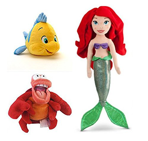 Official Disney Exclusive The Little Mermaid 3 pcs Plush set : Ariel 21'', Flounder 10'', Sebastian 8'' the crab. by Dismey by Dismey