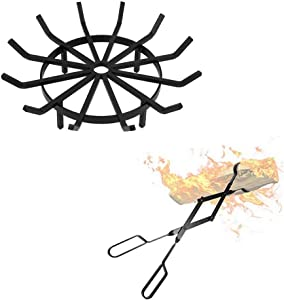 """Amagabeli 27in Fire Grate Log Grate Wrought Iron Fire Pit Bundle Fireplace Log Tongs 26"""""""