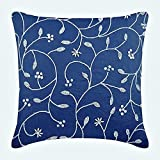 "Luxury Royal Blue Shams, Beaded Leaves Floral Theme Pillow Sham, 24""x24"" Pillow Sham, Square Cotton Linen Shams, Contemporary Pillow Shams - Day Dreamer"