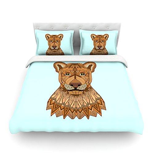 Kess InHouse Art Love Passion Lioness Blue Brown Cotton Queen Duvet Cover 88 x 88