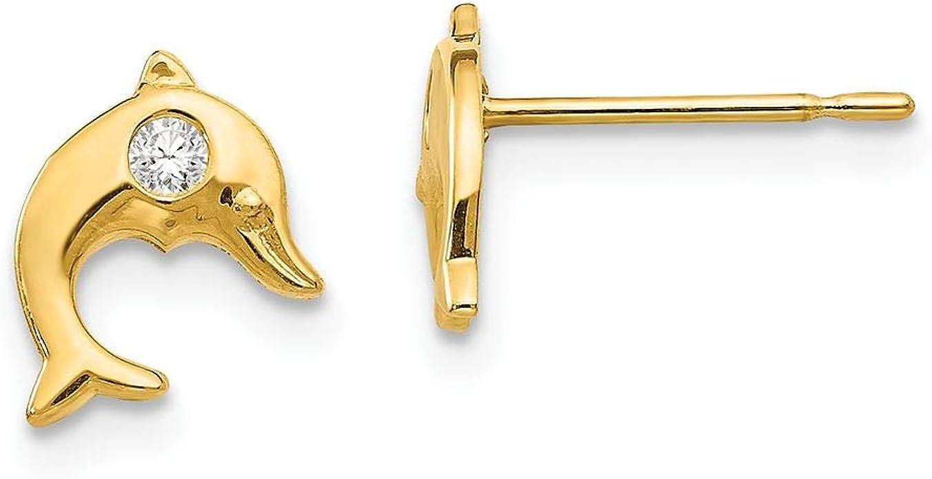 14K Yellow Gold Madi K Childrens 7 MM CZ Cross Post Stud Earrings