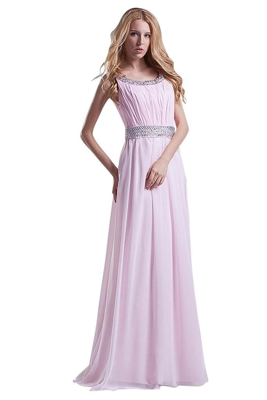 GEORGE BRIDE Graceful Chiffon Bateau with Paillette Evening Dress
