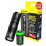 Nitecore P05 460 Lumens high intensity CREE LED Strobe Ready self defence flashlight (Black body) with EdisonBright CR123A Lithium Battery