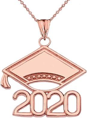 14K Rose Gold Polished and Block 2020 Graduation Charm Pendant
