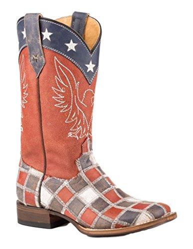 Roper Dames Patriottische Patchwork Vierkante Teen Laarzen