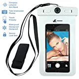 Voxkin PREMIUM QUALITY Universal Waterproof Case with ARMBAND, COMPASS, LANYARD - Best Water Proof, Dustproof, Snowproof Pouch Bag for iPhone 7, 6S, 6, Plus, 5S, Samsung Galaxy Phone S7, S6, Note 5, 4