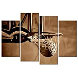 VVOVV Wall Decor - Framed Basketball Poster Artwork,Canvas Print Action Shot of Basketball Going Through Basketball Hoop and Net Picture Vintage Painting,Modern Kids Room Sports Wall Art
