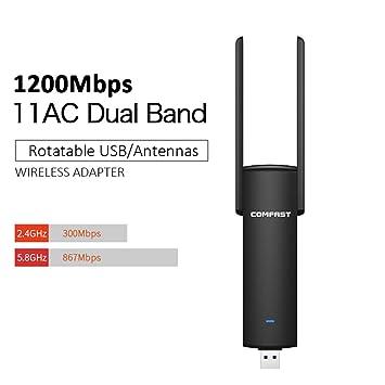 DZSF USB Adaptador WiFi 1200Mbps Banda Dual Wi-Fi Ordenador ...