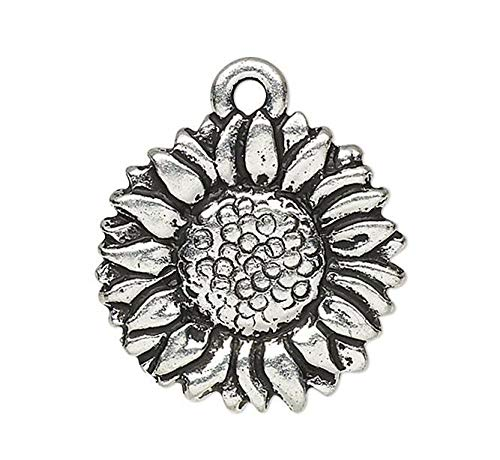 Pendant Jewelry Making for Bracelets and Chains 2 Antiqued Pewter Double Sided 15mm Sunflower ()