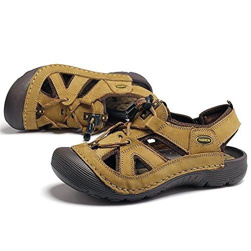 scarpe alpinismo degli Cachi in da le resistenti all'aperto sono vera del uomo da da e EU pizzo I Cachi 38 pelle casual Color all'impatto con sandali Dimensione Scarpe all'aperto uomini mare aYw5xqPF