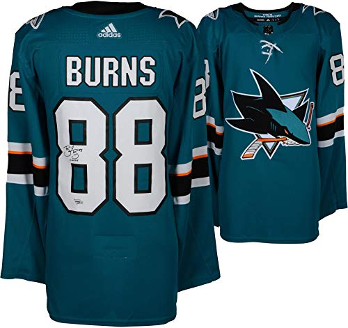 Jersey Authentic (Brent Burns San Jose Sharks Autographed Teal Adidas Authentic Jersey with Burnzie Inscription - Fanatics Authentic Certified)