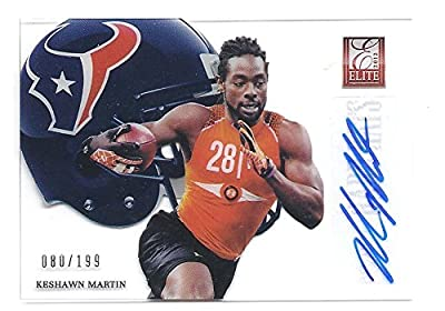 KESHAWN MARTIN 2012 Donruss Elite Hard Hats #45 Parallel AUTOGRAPH Rookie Card RC #080 of only 199 Made! Houston Texans Football