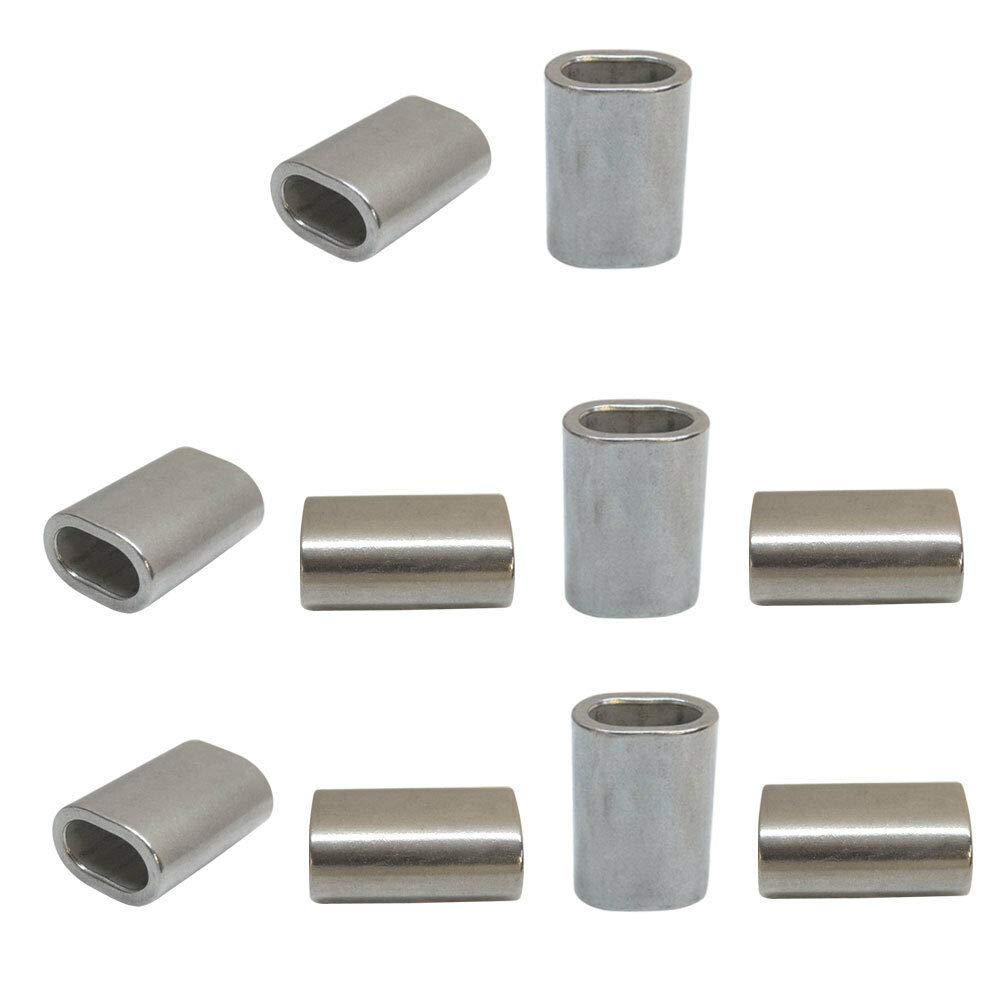 10 Pcs Stainless Steel Wire Rope Cable Clip 7/32'' Oval Crimping Sleeve Tube