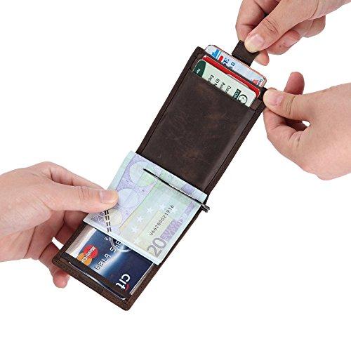 Leather Wallet Wallet Credit Front Clip RFID Compact TEEMZONE Minimalist Card Holder Brown Coffee Thin Dark Money Blocking Pocket Ultra Men's S5ZqE