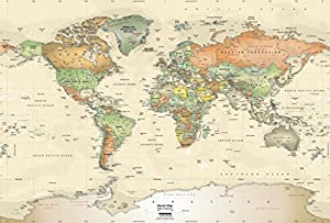 Academia Maps World Map Wall Mural Antique Ocean Political Map - All countries and capitals of the world