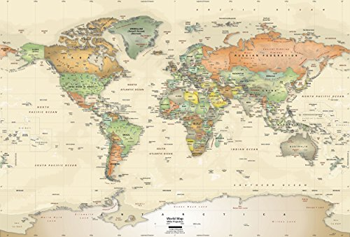Academia Maps | World Map Mural | Antique Oceans | Giant 89x60 Inches, Self Sticking Map Wallpaper. Peel and Stick Wall Decal. Easy to Apply, Safe for Walls ()