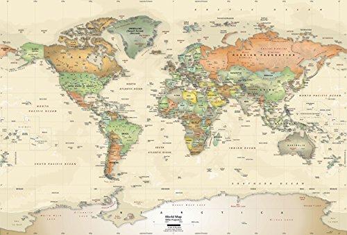Academia Maps - World Map Wall Mural - Antique Ocean Political Map - Premium Self-Adhesive Fabric ()