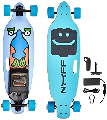 NUFF Electric Longboard Skateboard, Black/Blue