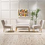 Christopher Knight Home 299422 Desdemona Fabric Living Room Sofa Set, Beige
