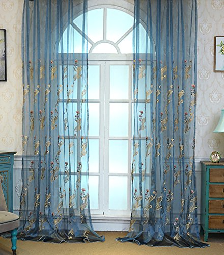ASide BSide Home Treatment Voile Panels Victorian Style Floral Embroidered Sheer Curtains Rod Pockets For Kitchen Houseroom and Children Room (1 Panel, W 52 x L 84 inch, - Sage Panel Victorian