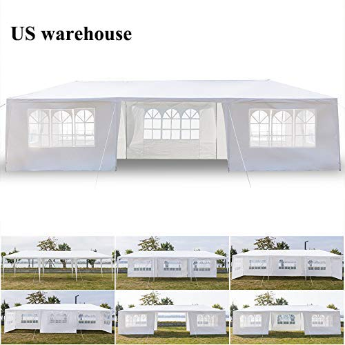 Teekland 10' x 30' Waterproof Party Tent,Practical Outdoor Tent for Parties,Heavy Duty Outdoor Gazebo BBQ Shelter Pavilionwith 7 Removable Sidewalls
