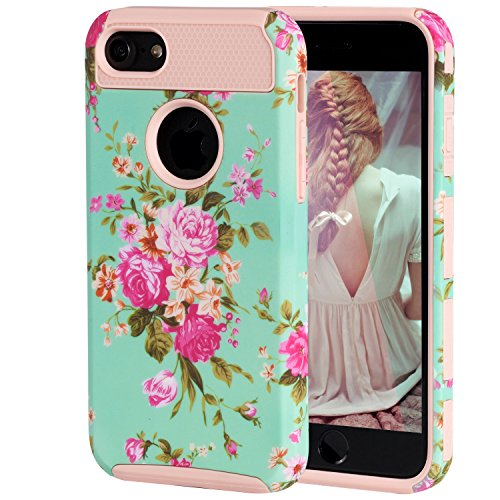 iPhone 6 Case,iPhone 6s Case,SKYFREE Vintage Floral Flower Design Slim Dual Layers Heavy Duty Shockproof Soft Silicone Anti-Scratch Hard PC Hybrid Protective Case for Apple iPhone 6/6S 4.7 inch (Iphone 4 Cases Floral Vintage)