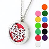Lademayh Essential Oil Necklace Aromatherapy Diffuser Necklace for Women, Love 30mm Stainless Steel Diffuser Locket Perfume Necklace with 2 pcs Chains & 12 Refill Pads