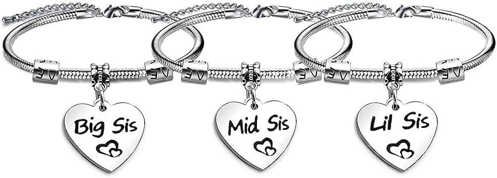 Juego de 3 pulseras de corazón ajustables para hermanas, hijas, amigas y hermanas