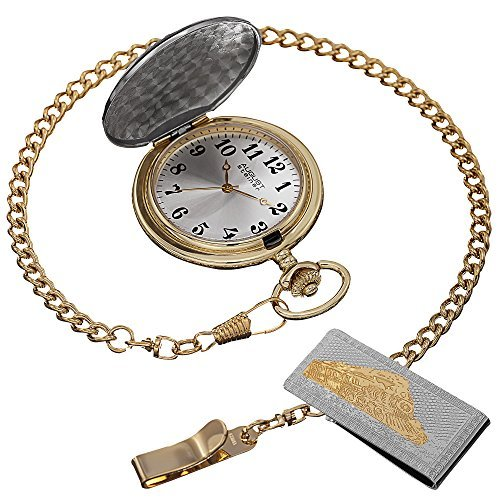 August Steiner Men's AS8144SSG Silver & Gold Etched Train Design Quartz Pocket Watch & Money Clip Set